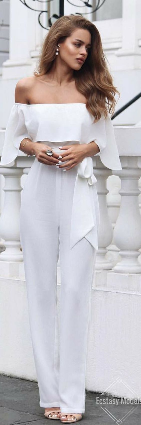 Chic white outfit~ #fashion, #outfits, #white ...